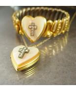 Vintage Religious Bracelet - Deco cross Locket necklace - communion gift... - $195.00