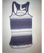 NWT Womens Lululemon Tank Top New Yoga Refresh Racer 4 Purple Stripes Wh... - $34.00