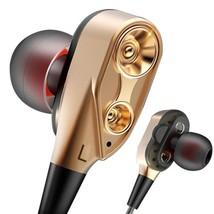 4 Speakers Earphone Double Unit In Ear Bass Subwoofer Sport Headset Earb... - $19.99