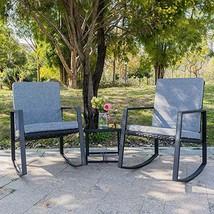 Bonnlo 3 Piece Rocking Wicker Patio Set, Outdoor Bistro Set Furniture, P... - $104.87