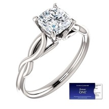 1.10 Carat (6mm) Cushion Moissanite Forever One Solitaire Ring (Charles&... - $449.00