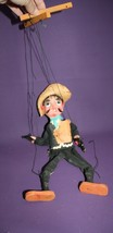 Vintage Mexican Man Marionette Wooden Sombrero Pistols String Puppet  - $19.79