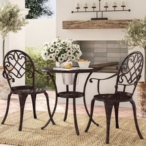 3 Pc Metal Bistro Set Outdoor Patio Small Round Coffee Table W/ 2 Chairs... - $284.65