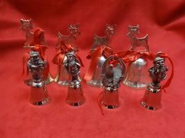 8 Silverplate Bells with Reindeer & Santa - $33.15