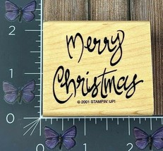 Stampin' Up ! Merry Christmas Rubber Stamp 2001 Script #W8 - $3.22