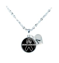 Custom Skin Cancer Awareness Black Ribbon Silver Necklace Jewelry Initial Family - $13.94