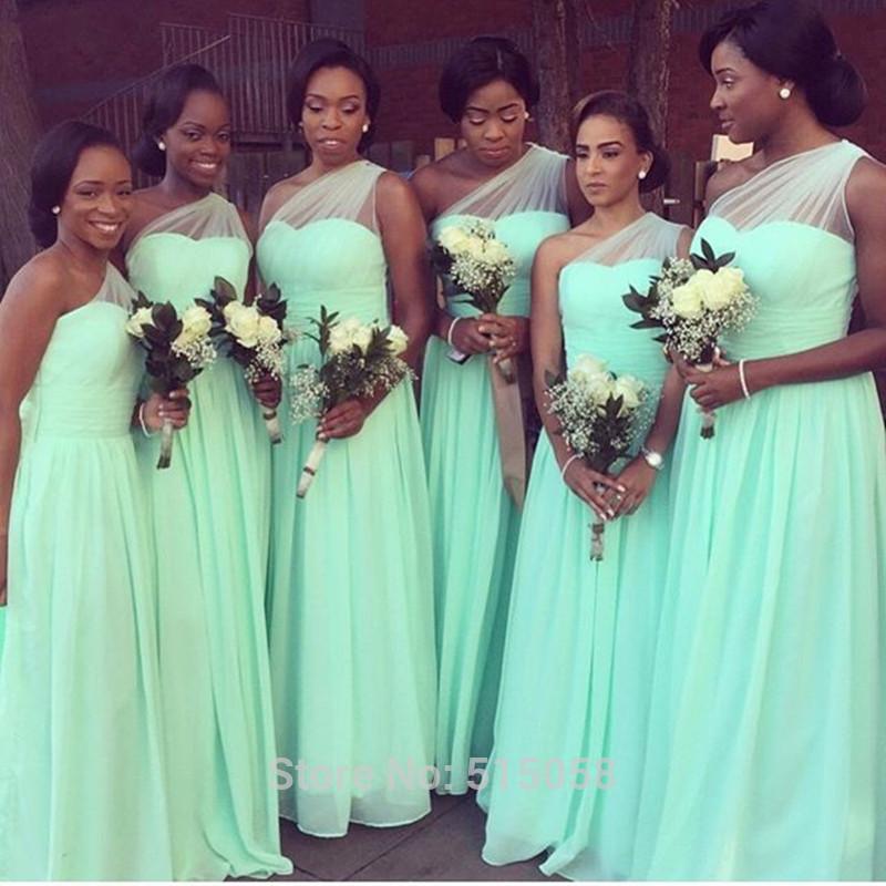 Vestidos de fiesta longo 2015 verde menta dama de honor vestidos largos de la gasa de