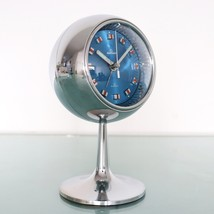 RHYTHM Alarm Mantel Clock FULL Chrome TOP! Space Age BLUE Dial RETRO Mid... - $385.00