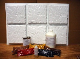 "Carved Slate Tile Making Kit w/6 Molds Make 100s 12""x12"" Tile Pavers for Pennies"