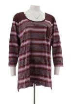 Isaac Mizrahi Live! TRUE DENIM 3/4 Sleeve Striped Tunic, Burgundy, XS - $19.79