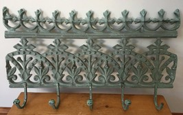 Vtg Antique Victorian Style Cast Iron Garden Home Decor Wall Mount Coat ... - $125.00