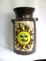 Large Red Stoneware Sun Moon Jar RKC074 - $50.00