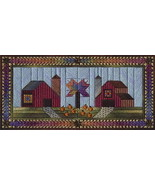 Two Country Barns counted canvaswork needlepoint chart w/canvas Nancy's ... - $15.30