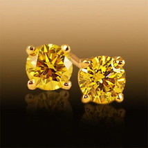 MOISSANITE EARRINGS CANARY YELLOW 1.60 TCW 6 mm. EACH SUPERIOR DIAMOND S... - $127.16