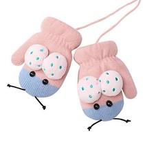 Cartoon Cute Ladybird Winter Warm Knitted Mittens Boys Girls Plush Lined... - $8.05