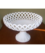 Large Lace Diamond Cut Footed Compote Milk Glass - $29.50