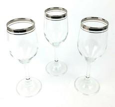 Vintage Platinum / Silver Trimmed Wine Glasses - Set of 3 - $24.49