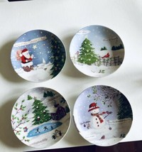 """Lenox Christmas Collage Set Of 4 Party Or Collector Plates Xmas 8.5"""" Dia... - $33.66"""