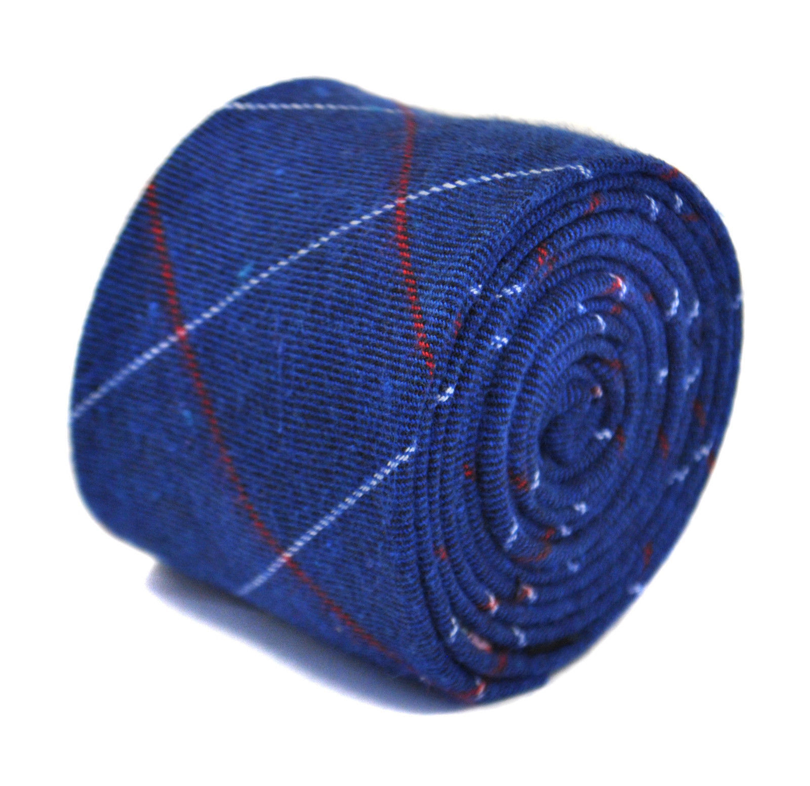 Frederick Thomas royal blue with red and white check cotton tie FT2169
