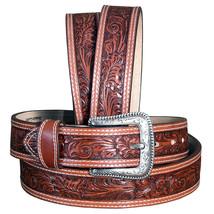 """U-8-36 36"""" Nocona 1-1/2"""" Wide Floral Embossed Stitched Leather Mens Cowboy Belt - $33.95"""