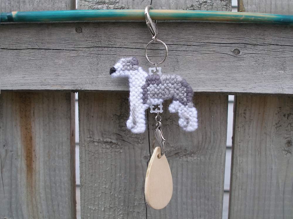 Italian Greyhound dog crate tag, handmade kennel art, plastic canvas needlepoint