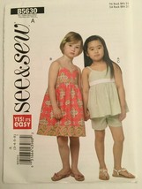 Butterick See & Sew Pattern 5630 Easy Sundress Top Shorts Sz 3-6 UC Dres... - $4.00