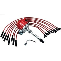 BBC CHEVY 396 427 402 502 572 HEI DISTRIBUTOR + RED 8.0mm SPARK PLUG WIRES
