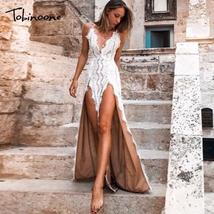 Tobinoone Elegant hollow out mesh lace dress sweet high split slim summe... - $47.72