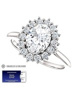 2.00 Carat Oval Forever One Moissanite Halo Ring in 14K Gold Charles & C... - $1,295.00