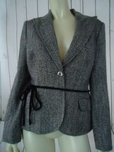 Anne Klein Blazer Coat 8 Black White Metallic Sparkle Acrylic Wool Blend - $54.65