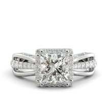 2.79 ct Princess Brilliant Moissanite & Diamond Engagement Ring 18k White Gold - $2,136.00