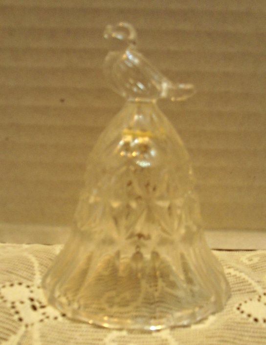 Vintage Hofbauer 'The Byrdes' Crystal Bell and Small Candleholder