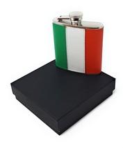 REAL LEATHER STEEL HIP FLASK IRISH IRELAND ST PATRICK FLAG CHRISTMAS PRE... - $45.80