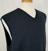 Izod Cotton Knit Sweater Vest Sz L Navy Gray Houndstooth V Neck Casual P... - $13.59