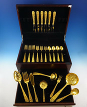 Repousse by Kirk Sterling Silver Flatware Set For 6 Service 32 Pieces Vermeil - $2,495.00