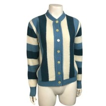 1960s Cardigan Sweater / 60s Mod Stripe Button Up Sweater Top / Medium  - $89.00