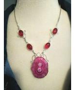 Necklace Natural Pink Solar Druzy Quartz  Sterling Sliver Healing Gemstone - $22.14