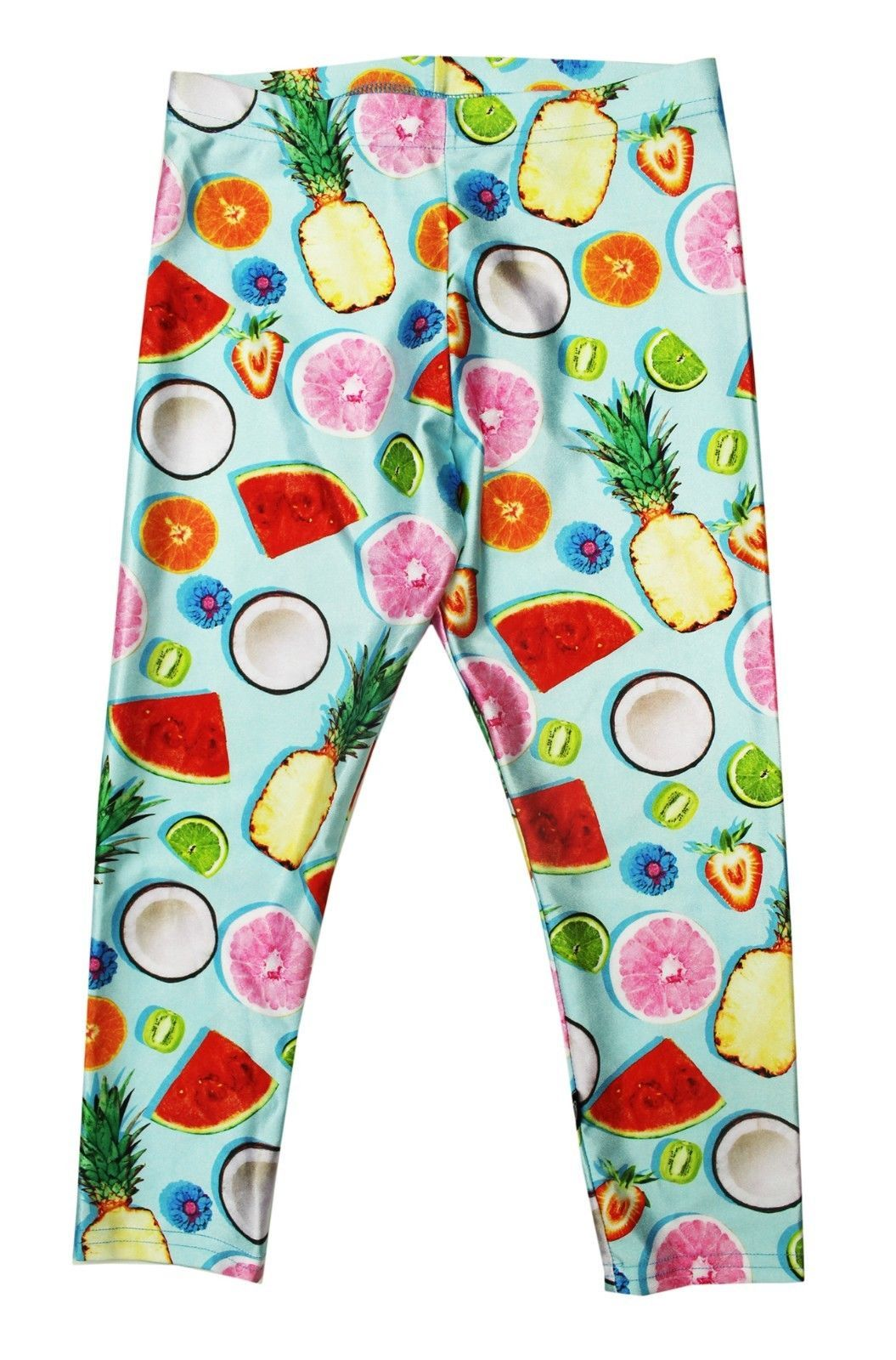 Primary image for NEW KIDS GIRLS TEREZ MADE IN NYC STRETCH TROPIC FRUIT LEGGINGS XL