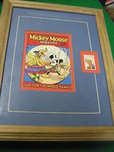 Framed-DISNEY 6 Cent Stamp W. Mickey Mouse Mag Cover #7..............SALE - $14.85