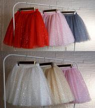 Women Girl Sparkle Tulle Skirt Mini Tulle Skirt A-line Red White Pink Gray image 1