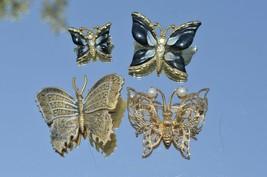 Lot of 4 Vtg Butterfly brooch pins**2 matching Enamel**1 Filigree**1 Dam... - $18.66