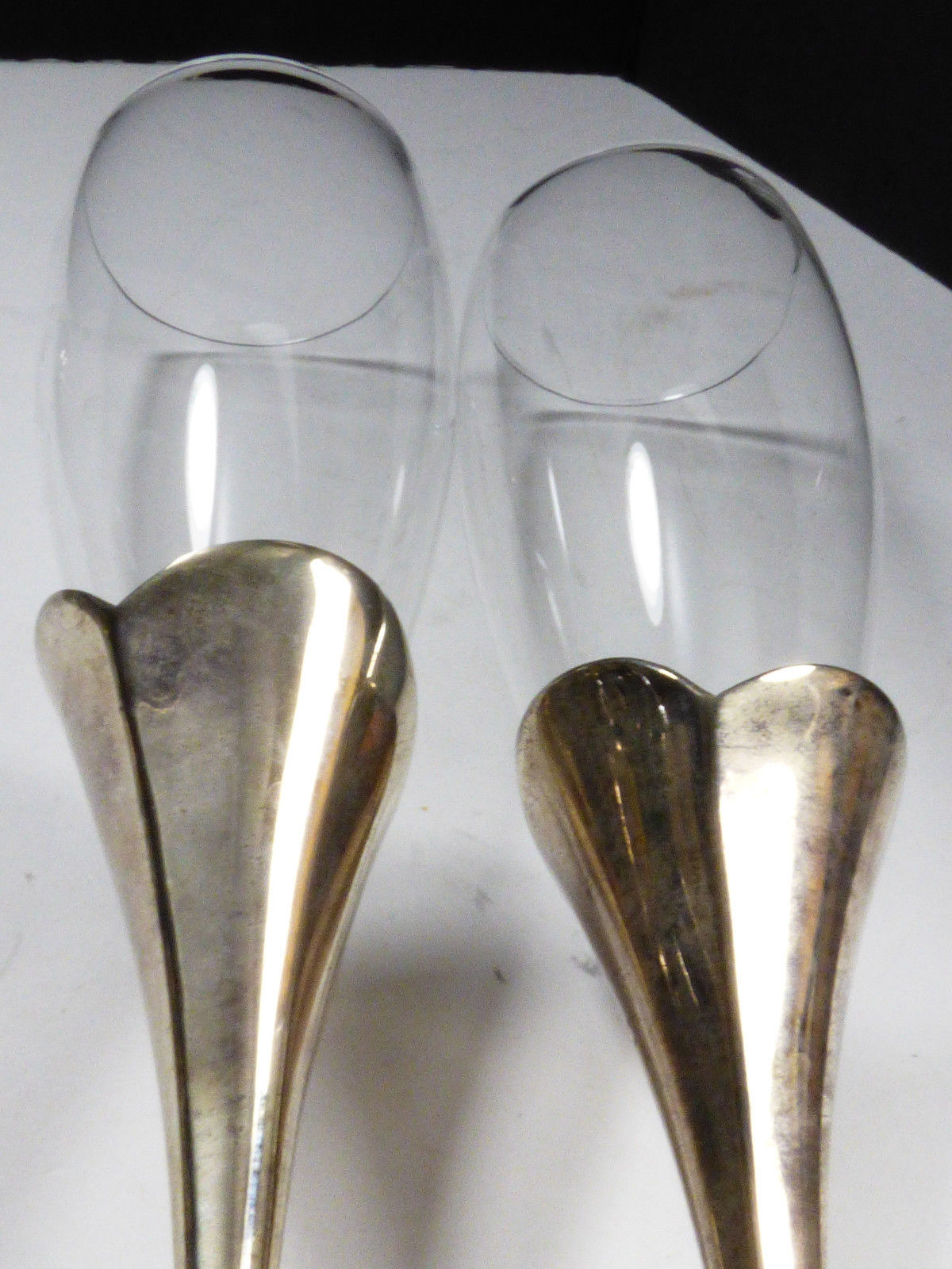 2 LENOX Crystal Champagne Flute Wedding Anniversary Silverplate Stems Heart image 5