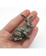 925 Sterling Silver - Vintage Petite Dark Tone Sculpted Rabbit Statue - ... - $149.22
