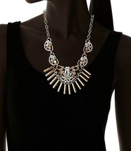 Fragments Gold Tone Glass Crystal CZ Bar Bib Oval Chain Necklace NWT image 2