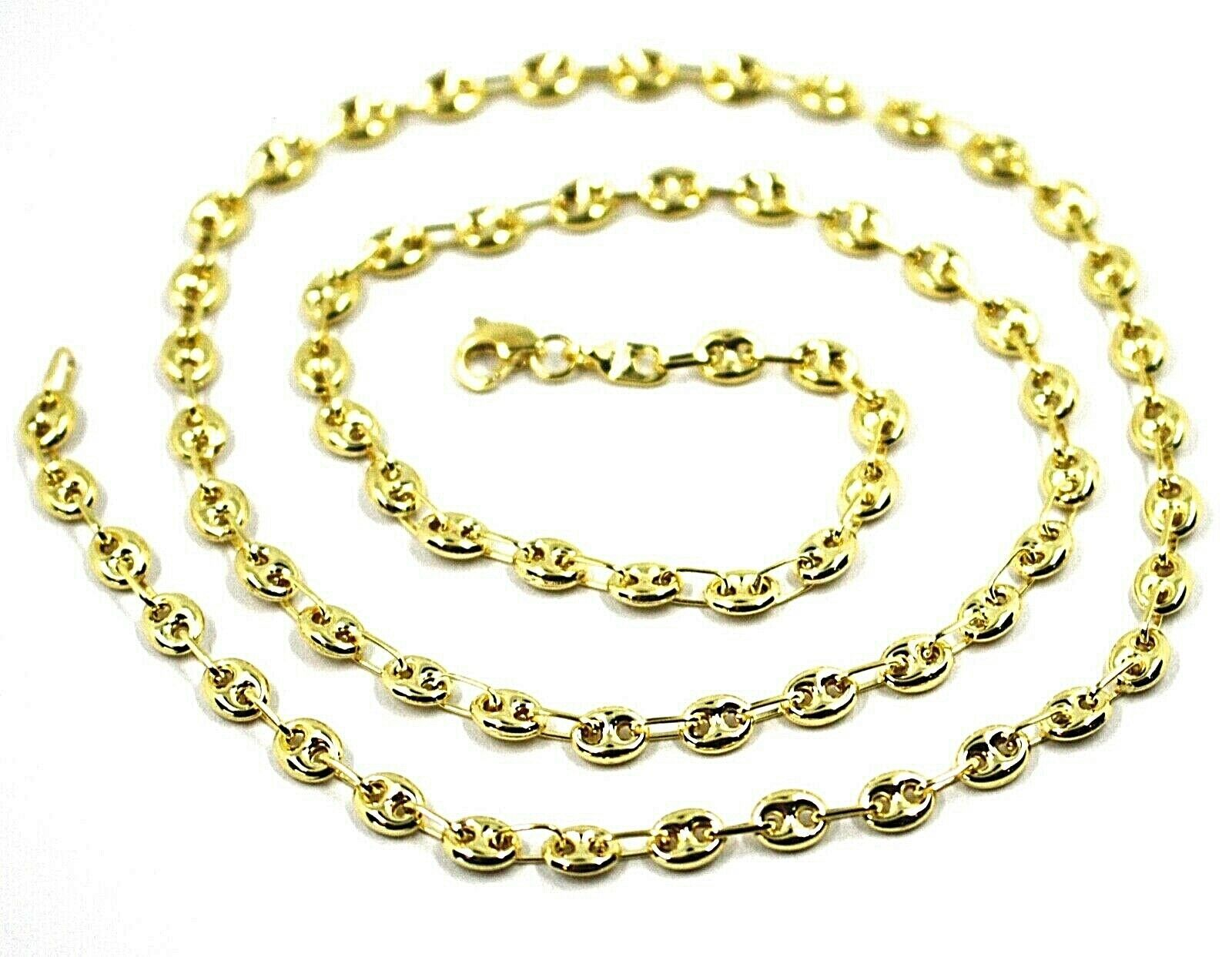 9K YELLOW GOLD NAUTICAL MARINER CHAIN OVALS 4 MM THICKNESS, 24 INCHES, 60 CM