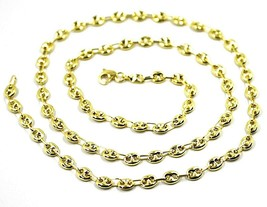 9K YELLOW GOLD NAUTICAL MARINER CHAIN OVALS 4 MM THICKNESS, 24 INCHES, 60 CM image 1