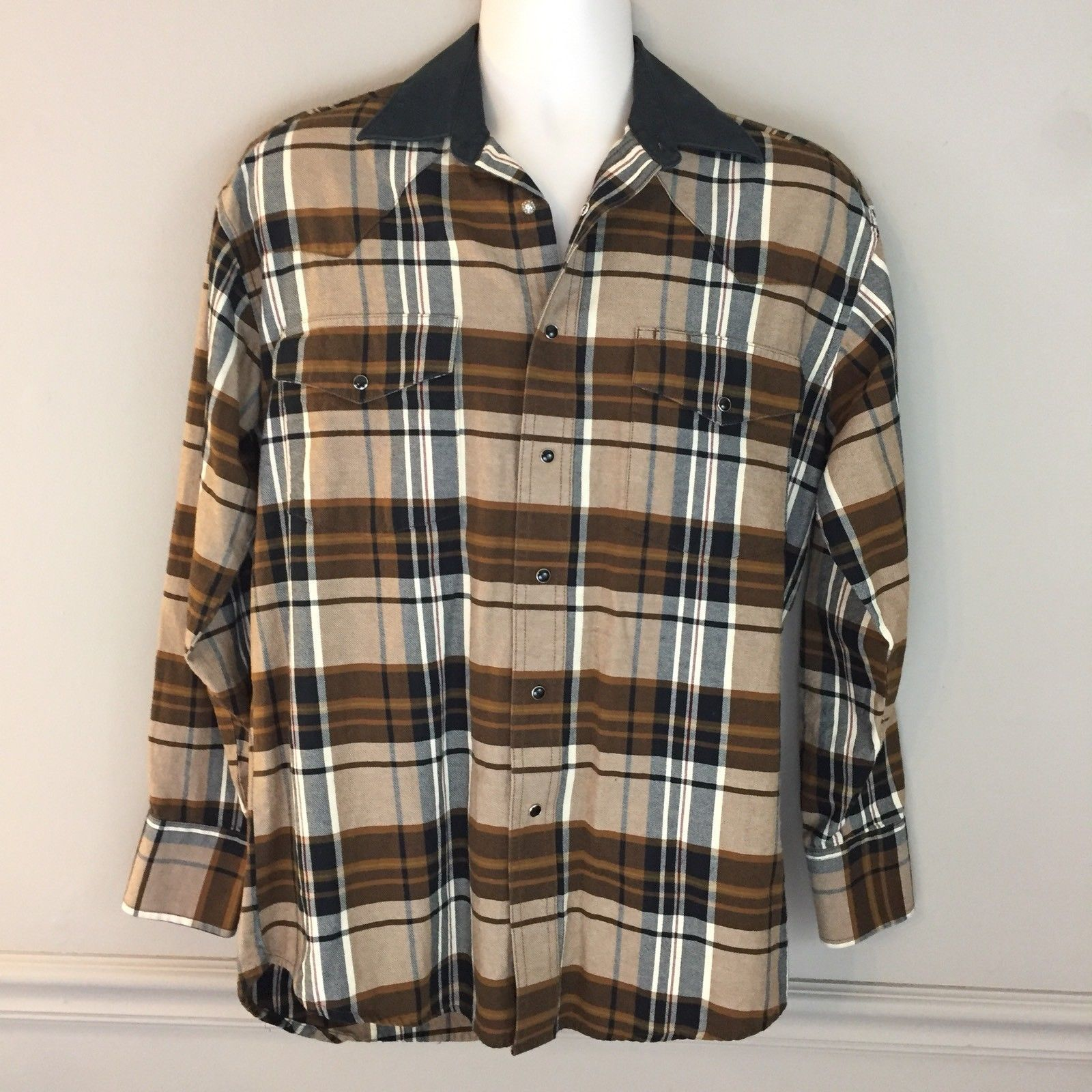 14eaba65 S l1600. S l1600. Wrangler Western Mens Brown Plaid Black Pearl Snap Shirt  Western Cotton Size M