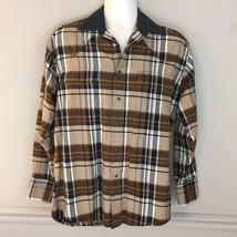 Wrangler Western Mens Brown Plaid Black Pearl Snap Shirt Western Cotton ... - $12.86