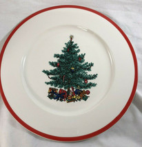"Taylor, Smith & Taylor Holly Spruce Christmas Tree Dinner Plate 10.75"" R... - $14.36"