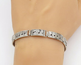 SILVER CLOUD 925 Silver - Vintage Music Notes Hinge Link Chain Bracelet ... - $79.94